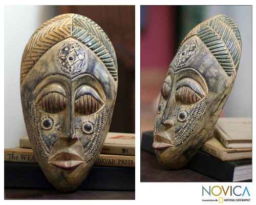 Hand Crafted Wood Mask 'Royal Presence'