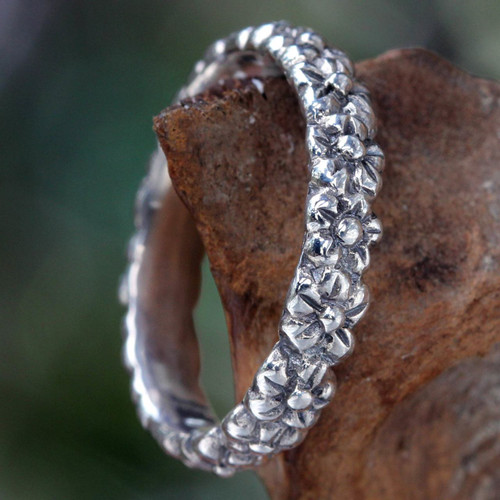Floral Sterling Silver Band Ring 'Silver Garland'