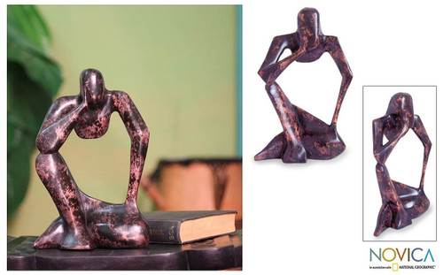 Hand Carved Wood Sculpture 'Power of the Mind'