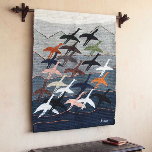 Hand Loomed Wool Bird Tapestry Wall Hanging 'Flying High'