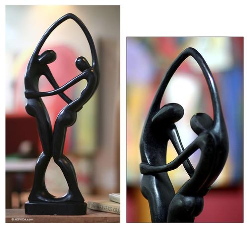 Romantic Wood Sculpture 'Dancers in Black'