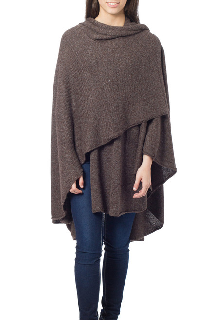 Artisan Crafted Alpaca  Blend Wrap Ruana 'Brown Tweed'