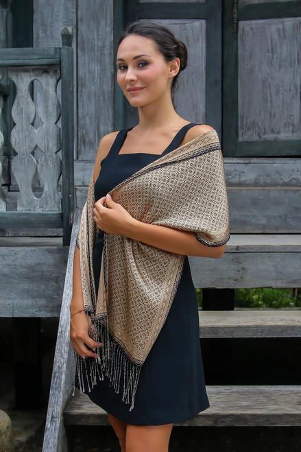 Batik Silk Patterned Scarf 'Golden Rings'