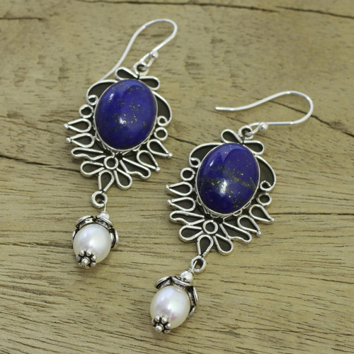 Lapis Lazuli and Pearl Earrings in Sterling Silver  'Ethereal'