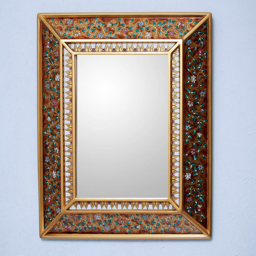 Hand Crafted Floral Glass Mirror 'Flowers on Gold'