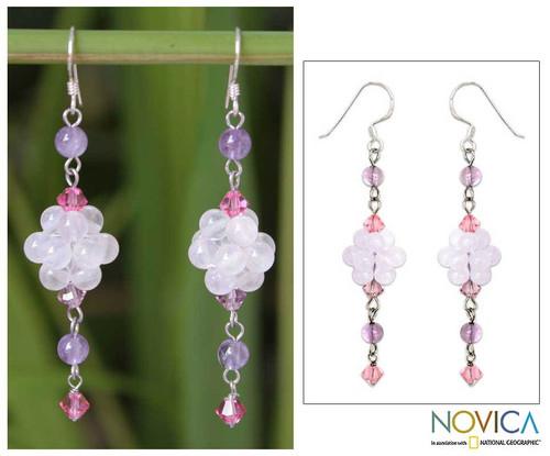Sterling Silver Beaded Rose Quartz Earrings 'Enchanted Bloom'
