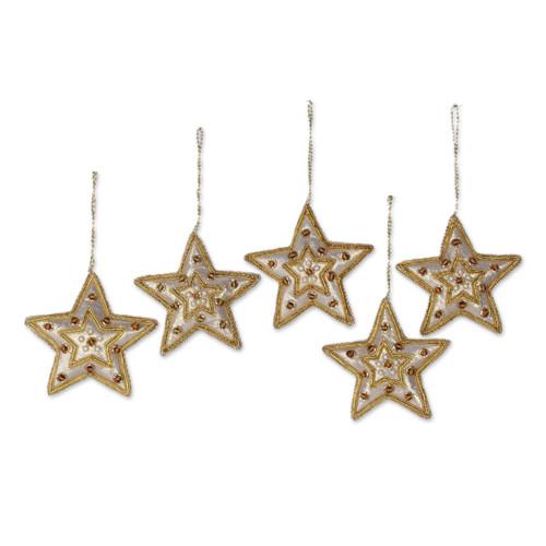 Gleaming Gold Stars Christmas Beadwork Ornaments Set of 5 'Glorious Star'