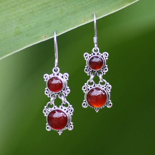 Carnelian Sterling Silver Dangle Earrings 'Radiant Queen'