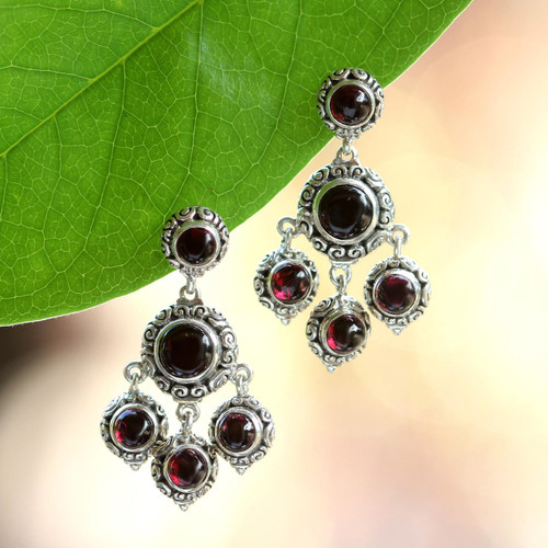 Sterling Silver and Garnet Chandelier Earrings 'Blessing'