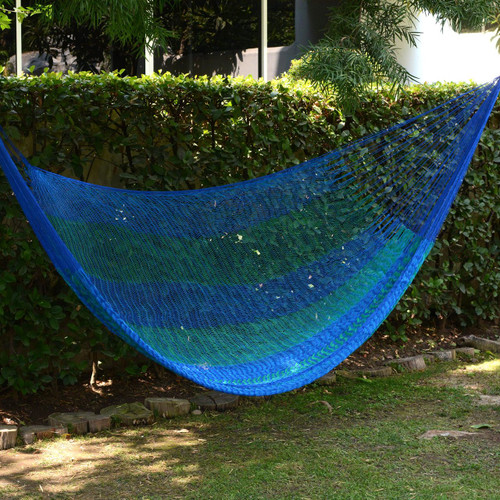Striped Mayan Hammock (Single) 'Cool Lagoon'