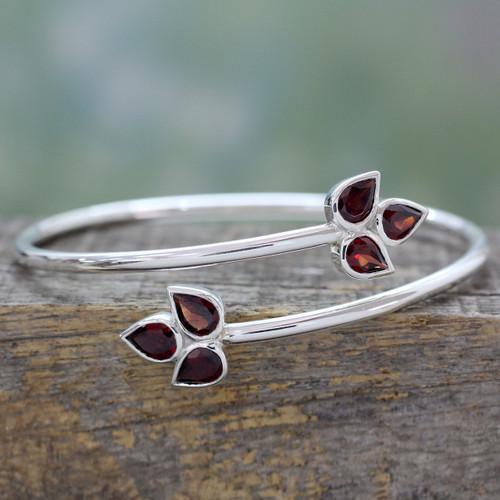 Indian Sterling Silver Bangle Garnet Bracelet 'Red Ivy'