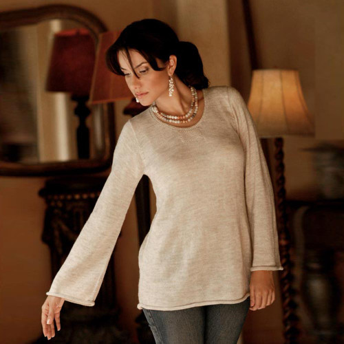 Artisan Crafted Alpaca Wool Blend Pullover Sweater 'Charisma'