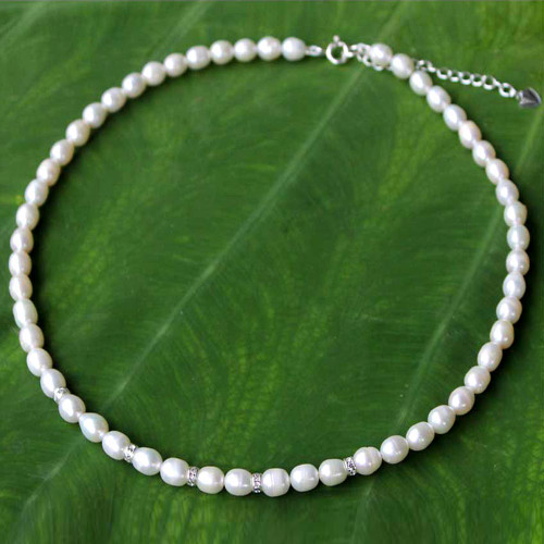 Handmade Pearl Strand Necklace 'Debutante'