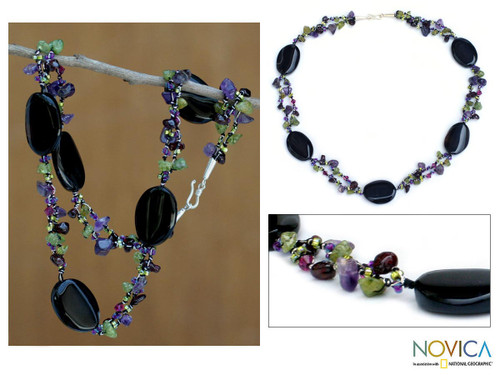 Unique Onyx and Amethyst Beaded Necklace 'Enchantment'