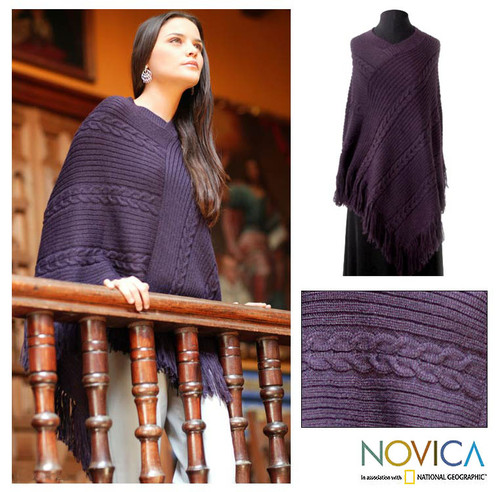 Poncho Alpaca Blend Purple Knit for Women 'Double Plum Braids'