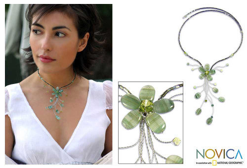Floral Beaded Quartz Necklace 'Sea Green Forest'