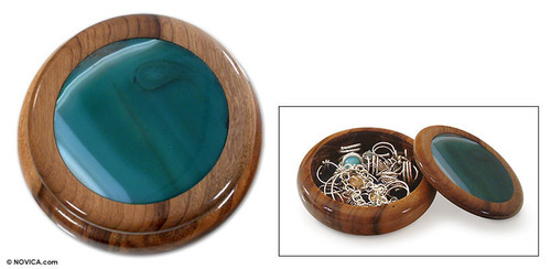 Green Agate and Wood Jewelry Box 'Forest Amazon'