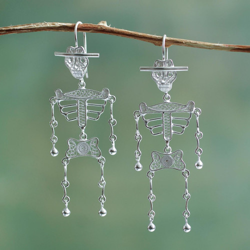 Day of the Dead Sterling Silver Filigree Earrings from Peru 'Dancing Skeleton'