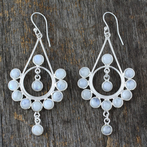 Moonstone Silver Earrings Handmade Indian Style Jewelry 'Circles'