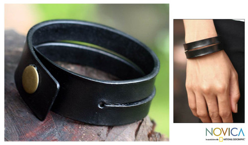 Handmade Leather Wristband Bracelet 'Duality in Black'