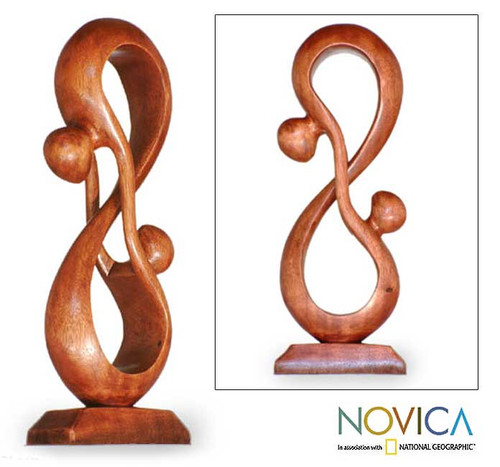 Hand Crafted Romantic Wood Sculpture 'Acrobat Lovers'