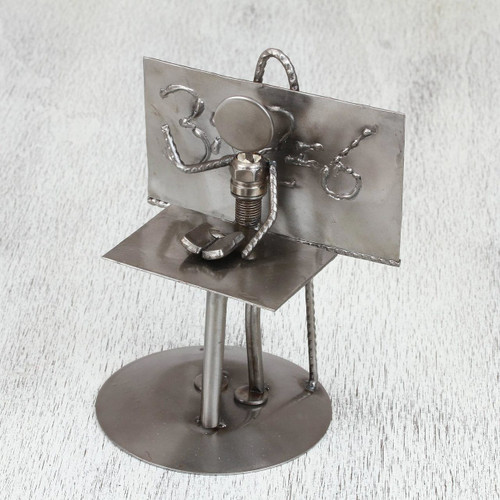 Collectible Recycled Car Parts and Metal Sculpture Rustic 'Rustic Professor'