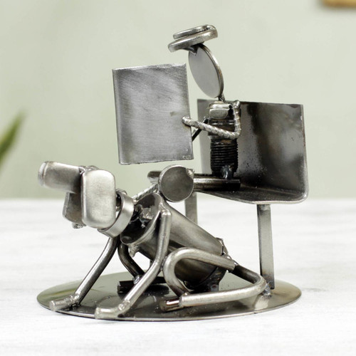 Auto Part Sculpture Recycled Metal Art Man and Dog Mexico 'Rustic Friends'