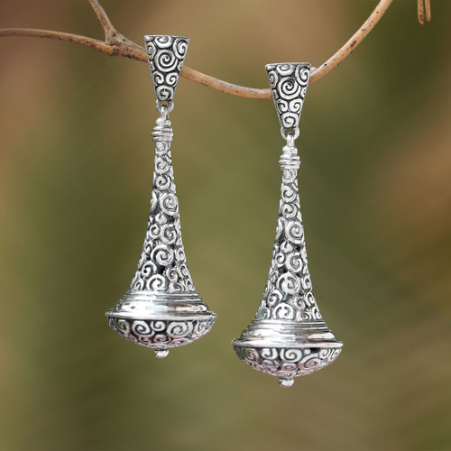 Handmade Sterling Silver Dangle Earrings 'Temple Bells'