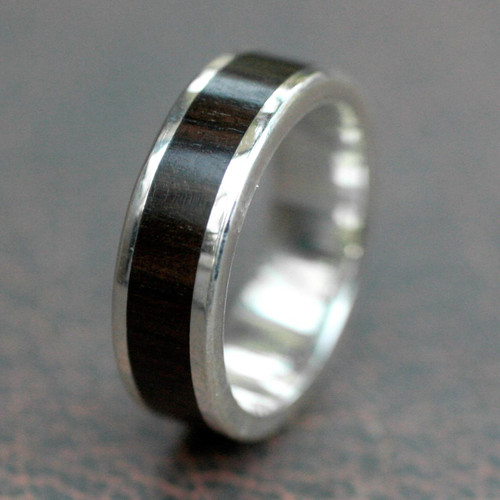 Men's Fair Trade Fine Silver Wood Band Ring 'Strength'