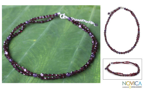 Unique Beaded Garnet Necklace 'Grape Garland'