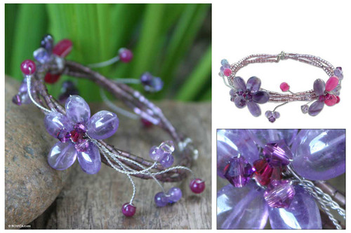Hand Made Amethyst Flower Bracelet 'Violet Dreams'