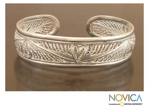 Heart Shaped Sterling Silver Cuff Bracelet 'Nature's Heart'