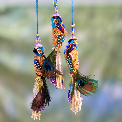 Beaded ornaments (Set of 3) 'Royal Peacock'
