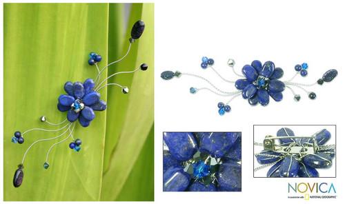Handmade Floral Lapis Lazuli Brooch Pin 'Blue Bouquet'