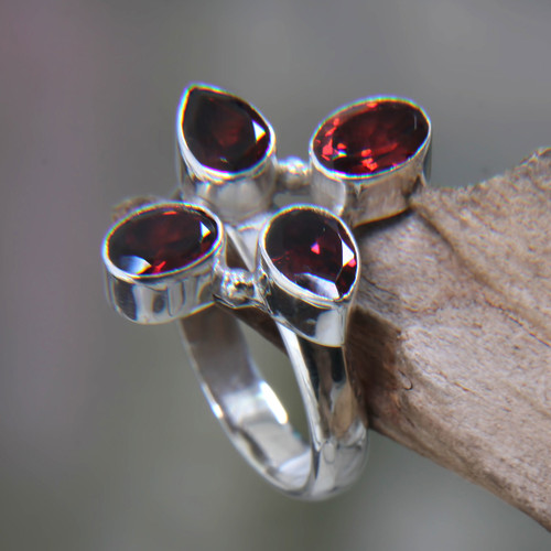 Garnet and Silver Cocktail Ring 'Blossom of Fire'
