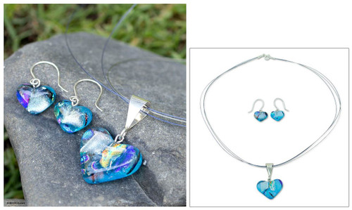 Mexican Heart Shaped Glass Pendant and Earrings Jewelry Set 'Caribbean Heart'