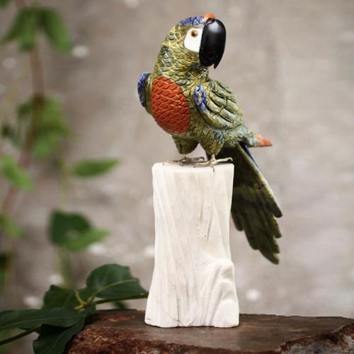 Collectible Gemstone Multicolor Bird Sculpture 'Jungle Cockatoo'
