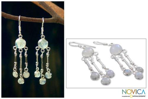 Rainbow Moonstone Earrings in Sterling Silver Handmade 'Dreamer'