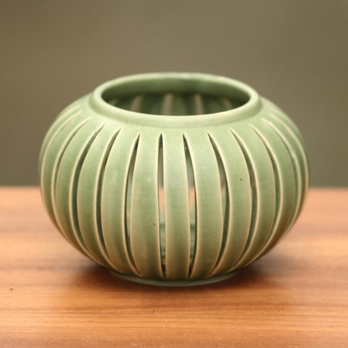 Green Ceramic Candle Holder from Indonesia 'Onion'