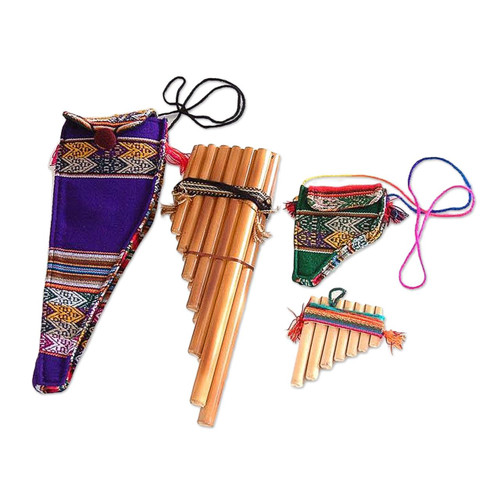 Hand Crafted Bamboo Wind Instrument Zampona Panpipes (Pair) 'Inca Serenade'