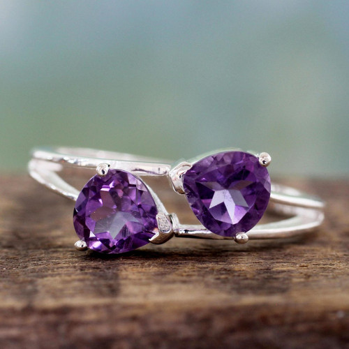 Sterling Silver and Amethyst Two Stone Cocktail Ring 'Encounters'