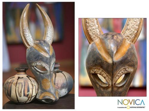 Ahanti Wood Mask 'Brave Buffalo'