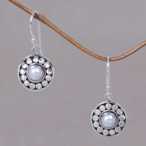 Pearl Sterling Silver Dangle Earrings 'Sunny Day'