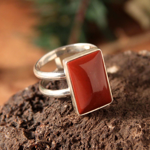 Sterling Silver Jasper Cocktail Ring from Peru 'Passionate One'