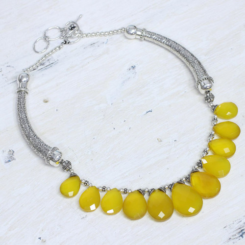 Sterling Silver Waterfall Chalcedony Necklace 'Yellow Petals'