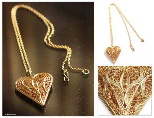 Fair Trade Heart Shaped Gold Plated Filigree Necklace 'Heart of Lace'
