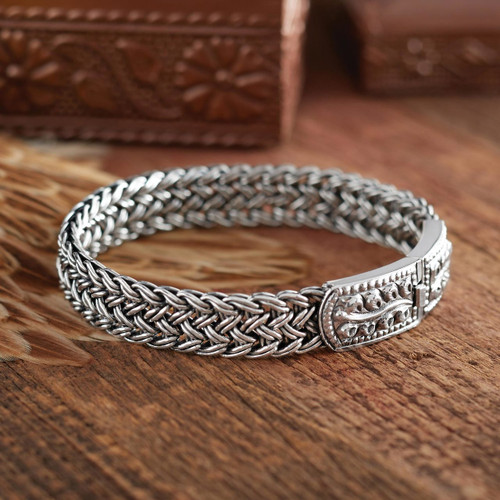 Handcrafted Sterling Silver Wristband Bracelet 'Mayom Tree'