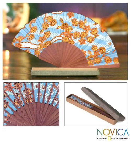 Indonesian Batik Silk Fan Accessory 'Springtime'