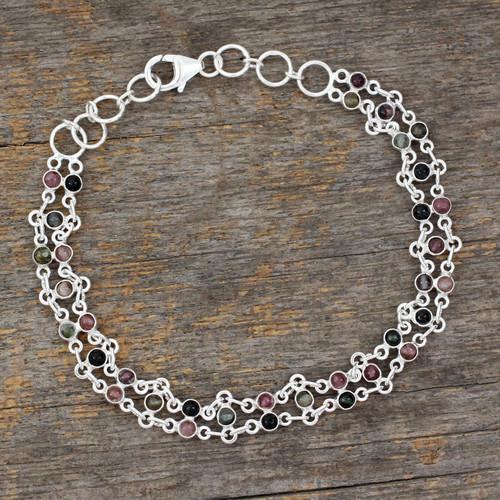 Sterling Silver and Tourmaline Bracelet 'Translucent Contrasts'
