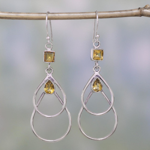 Hand Crafted Citrine and Sterling Silver Dangle Earrings 'Gold Ice'